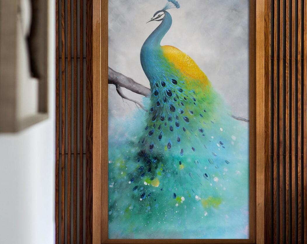 3D Peacock Wall Mural Printed Photo Wallpaper Large Size for TV