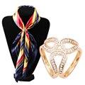 Rhinestone Garland Hoop Twine Brooch Silk Scarf Clip Buckle Holder Jewelry Gift