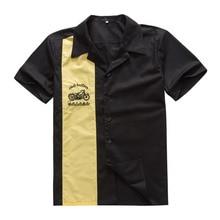 Kcoyster рокабилли мужские рубашки 1950s Ретро рокролл мужские рубашки с вышивкой мотоциклетные рубашки больших размеров Черная ковбойская одежда в западном стиле