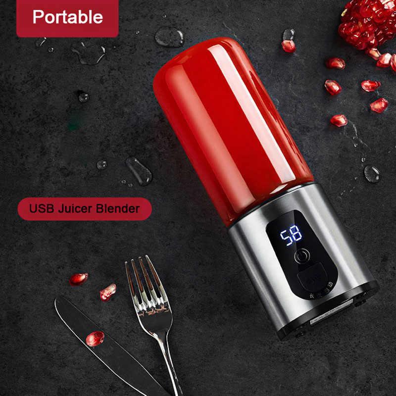 Mini Portátil USB Xícara de Suco Espremedor de Frutas Espremedor Elétrico Liquidificador com tampa Do Copo de Viagem Recarregável 4 peças folha cortador de cabeça