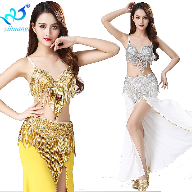 Arab Belly Dancing Costumes Sequined Beading Tassel Oriental Dance Wear Halloween Party Egyptian Performance Costume D Cup 2pcs