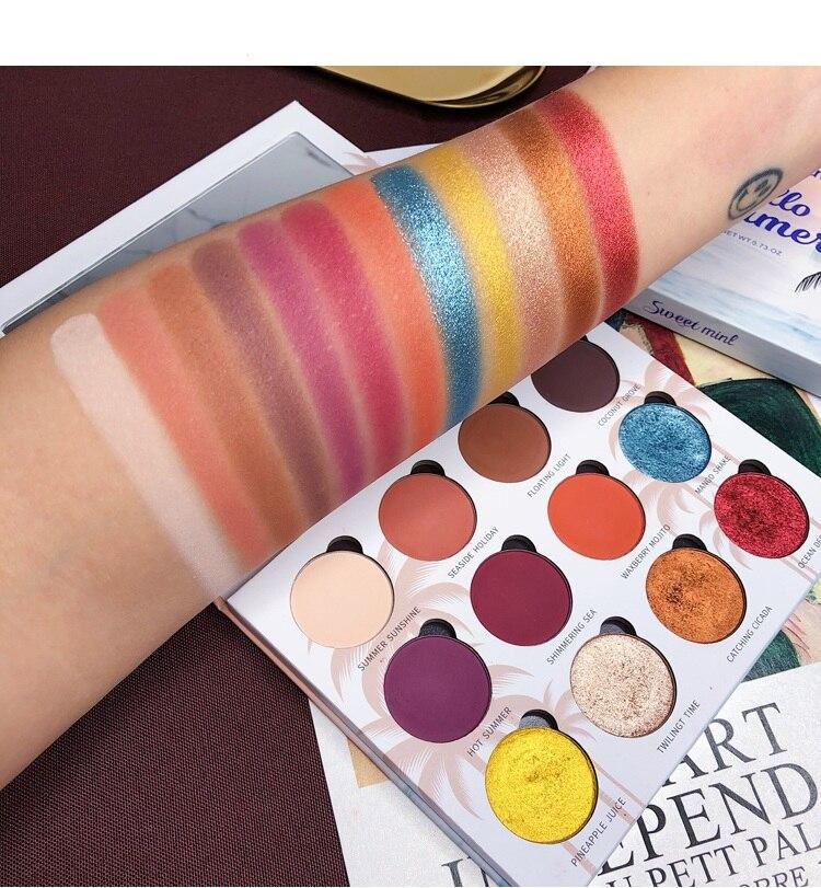 Maquiagem profissional 12 cores brilho diamante paleta