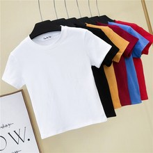 Crop Top T-Shirt Female Solid Cotton O-Neck Short Sleeve T-shirts for Women High