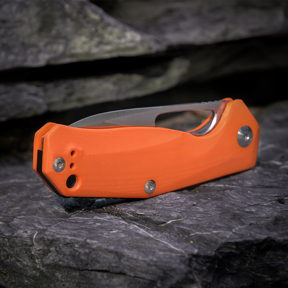 Kizer Survival Knives Camping Outdoor Knife V4461A2 VG10 Drop Point Blade, Orange G10 Handle