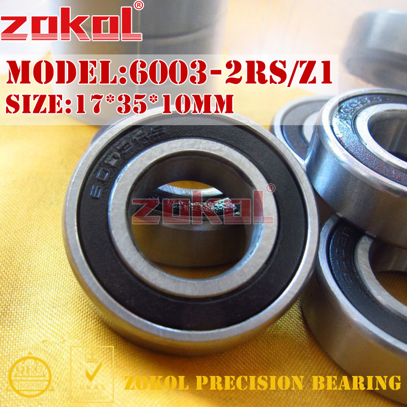 ZOKOL 6003RS Z1 bearing 6003 2RS Z1 80103/Z1 6003-2RS/Z1 Deep Groove ball bearing 17*35*10mm цена