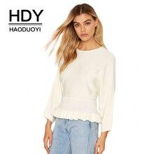 HDY Haoduoyi Solid White Women Sweaters Crew Neck Long Sleeve Ruffle Waist Brief Tops Streetwear Casual Sweet Sweaters sweet sweaters sweet sweaters джемпер 136705