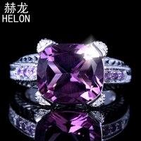 Plata esterlina 925 Ajuste de Tensión 6.15CT Genuino Diamantes Naturales y Estilo Antiguo al por mayor Del Anillo de Bodas De Compromiso Amatista