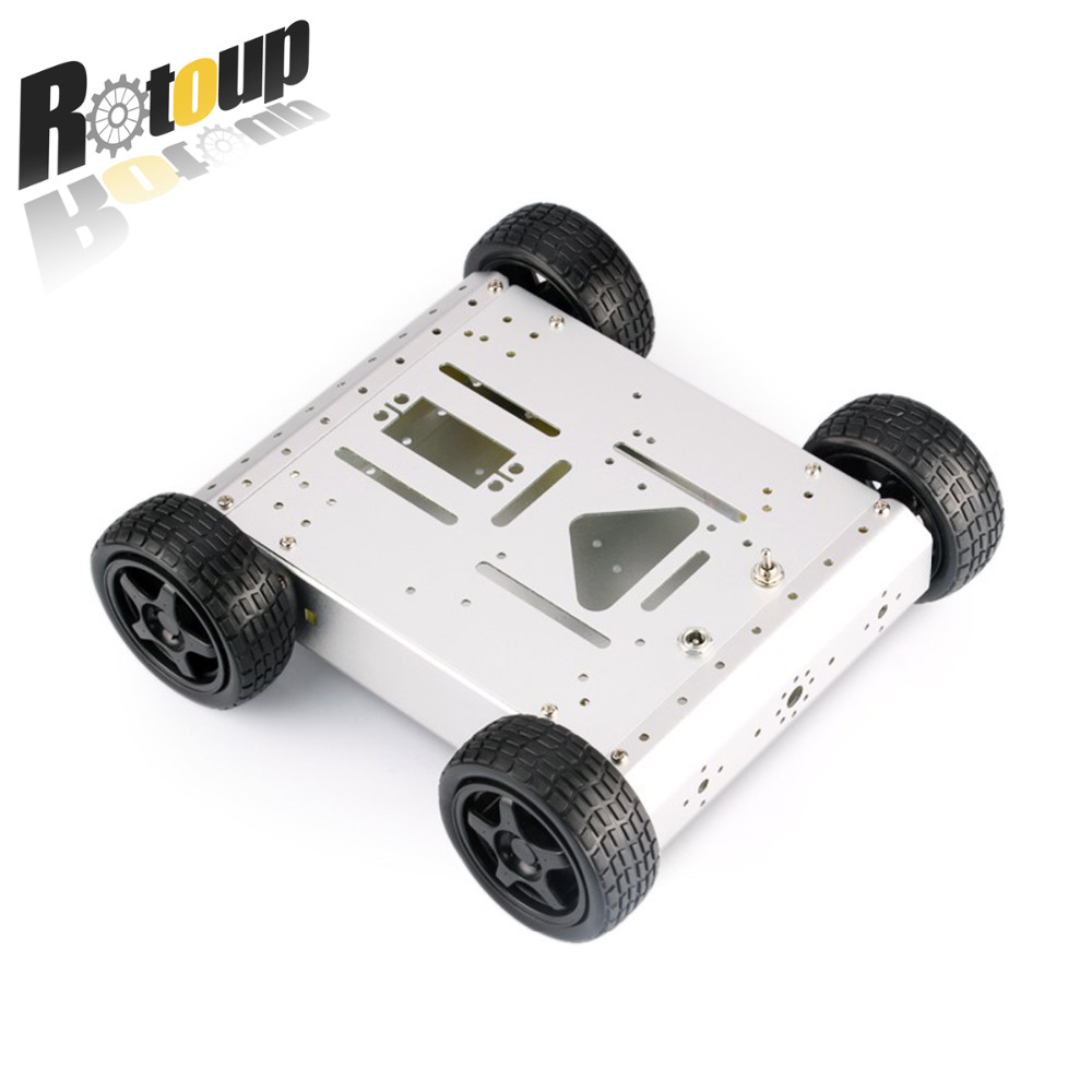 купить Rotoup Smart Robot Chassis Kit FOR Arduino 4WD Motor car Wheels metal robot platform chasis encoders Aluminum Avoidance #RBP017