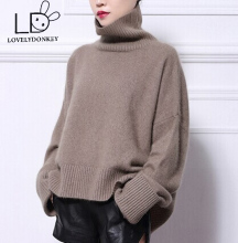 LOVELYDONKEYNew  mink cashmere sweater women pure cashmere pullovers turtleneck sweater brand style free shipping M414
