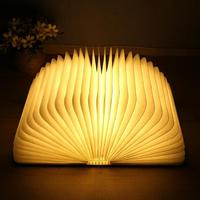 USB Rechargeable Foldable Wooden Book Shape LED Desk Lamp Waterproof Night Table Light Gift Creative Table Book Light