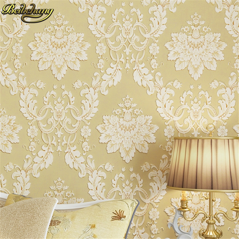 beibehang European Wallpaper Roll 3D Flocking Damask Wall paper For Living room Bedroom Sofa TV Backdrop papel de parede sala beibehang wall coverings mural wall paper roll bedroom sofa off white textured feature europe vintage glitter damask wallpaper