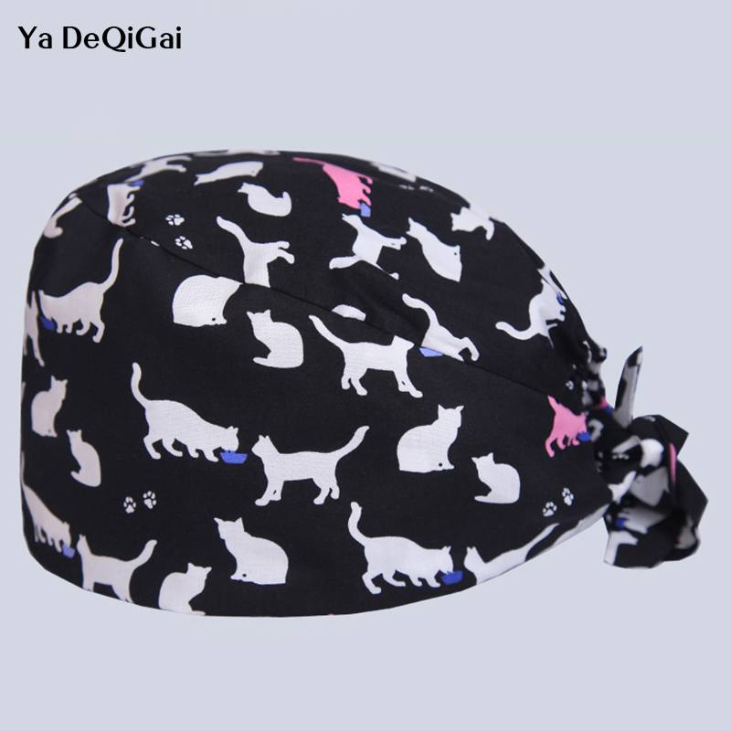 Medical Amicable 2019 New Beauty Salon Work Cap Operating Room Hat Doctor Nurse Dental Cotton Printing Pet Doctor Hat Printing Cat For Men Women