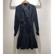 De vestido negro largo-manga larga correa de costura de lana de las mujeres es temperamento elegante vestido de Otoño de 2019 Y el invierno