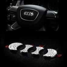 цена на Styling Steering Wheel Emblem Badge Crystal Sticker for Audi A1 A3 A4 A5 A6 A7 Q5 Q7 TT S3 S5 S6 S7 S8 SQ5 RS5 RS7