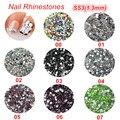 Uñas decoraciones nuevo llega SS3 1.3 MM ronda crystal no hotfx rhinestosnes para las uñas. 3d decoraciones del arte del clavo colorido