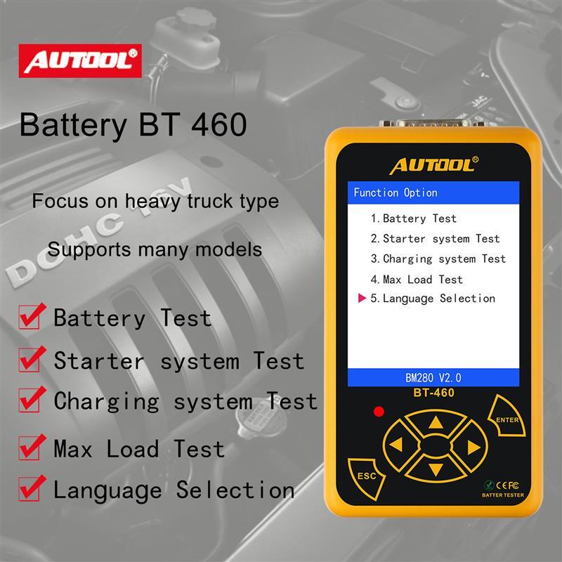AUTOOL BT460 testeur de batterie de voiture Instruments d'analyse numérique CCA AGM GEL Auto analyseur de batterie 12V 24V outil de Diagnostic pour camion - 3