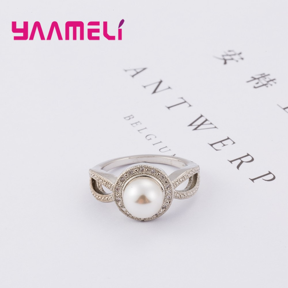 Brand Created Genuine 925 Sterling Silver Pearl Wedding Rings with AAA Cubic Zirconia Crystal For Women Vintage New Sale