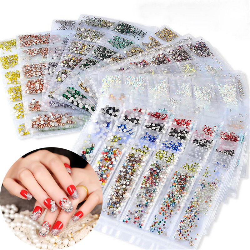 1700pcs Nail Rhinestones For Nails Art Decorations Crystals Strass Charms SS3-SS10 Rhinestones All Colors Accessories