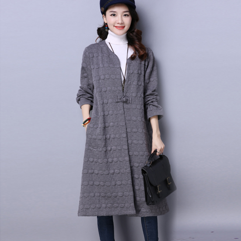 2018 Cotton Linen Trench Coat Spring Summer New Design Retro Woman Cloak Long Trench Female Outerwear women Solid Casual Tops