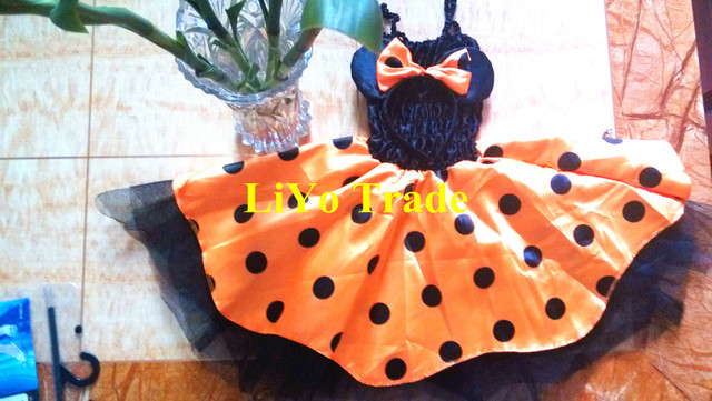 Free Shipping 2013 New Arrival Sweet Girl Baby Kid  Mickey Mouse Skirt Beautiful Dot Pattern Princess Dress