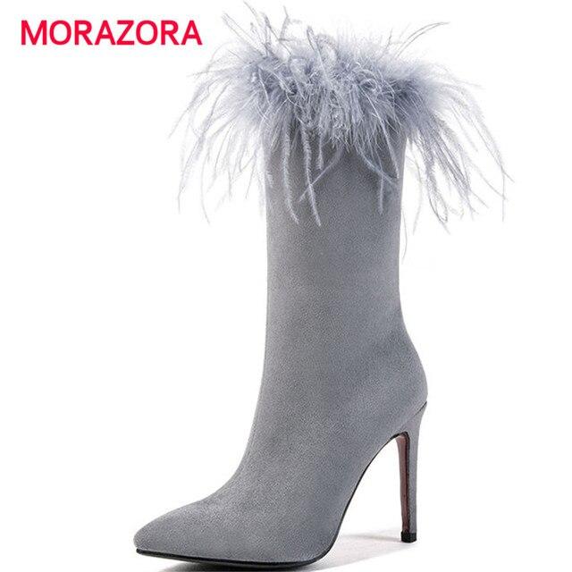 MORAZORA lớn kích thước chân nhọn siêu cao gót trung calf boots thời trang lông stiletto gót phụ nữ khởi động mùa thu mùa đông zip khởi động