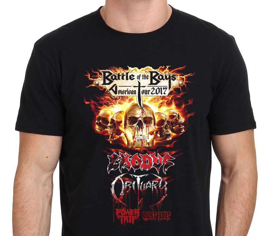 Exodus Obituary Battle Of The Bays Usa Tour 2018 MenS Black T Shirt Size S 4Xl