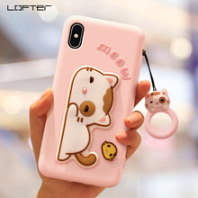 Cute Cartoon Kickstand Silicone Soft Case Cover For iPhone XS X 10 XS Max 7 8 Plus Shockproof Girls With Ring Holder Cord LOFTER
