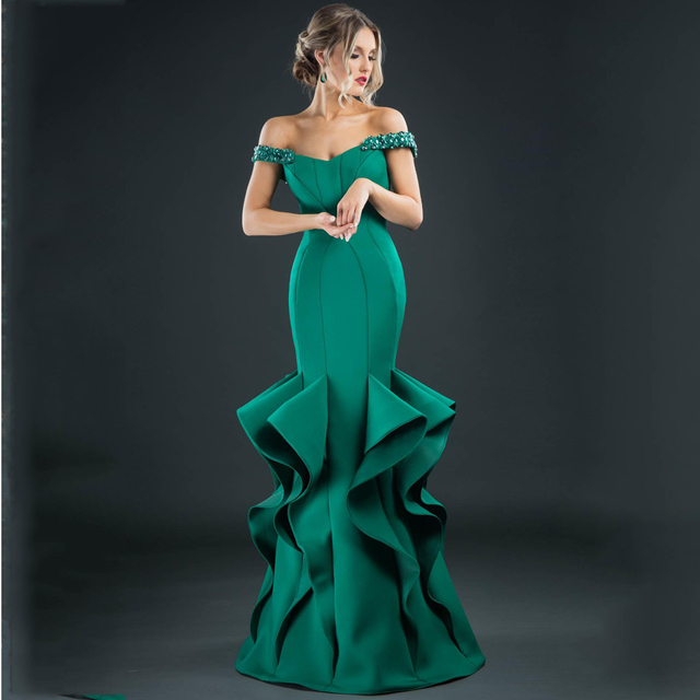 Design Beaded Green Evening Dresses Long Mermiad Emerald Formal ...