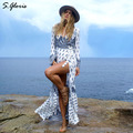 M. H. Artemis Bloco da Cor Elegante Folk Imprimir Praia Vestido Maxi Vestidos Vestido Ocasional Das Senhoras Das Mulheres Do Vintage Boho 2016 queda New Style