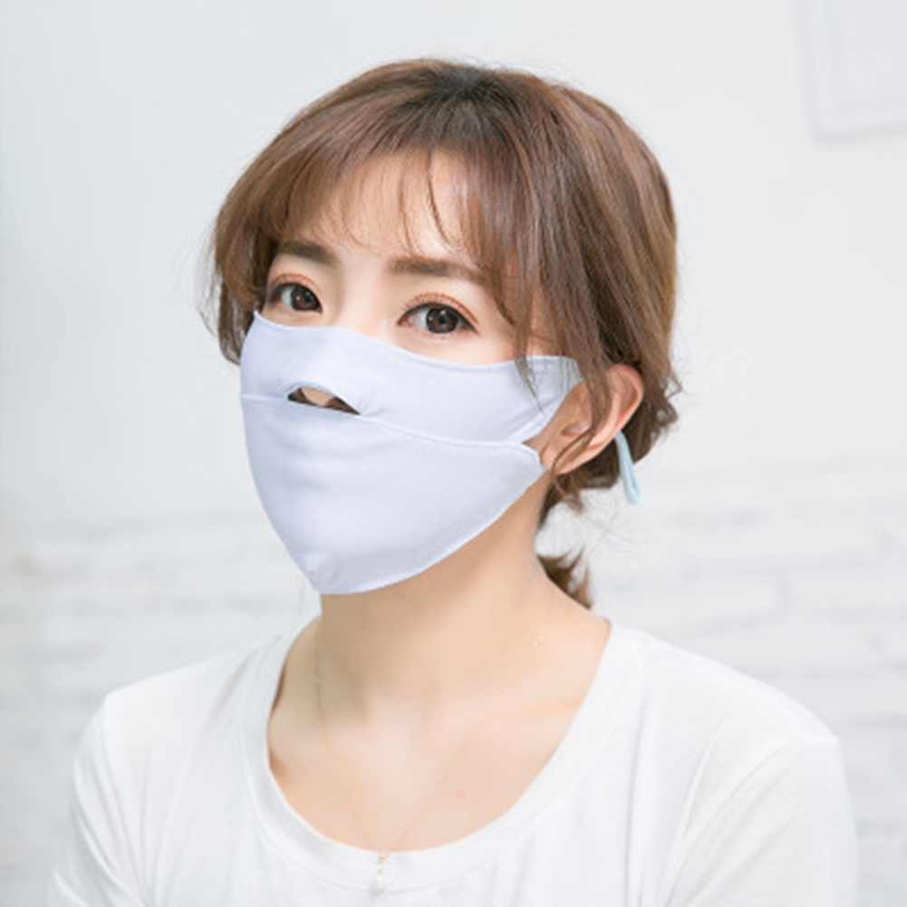 1PC Ice Silk Unisex Mask Summer Dust Proof Open Nose Mouth Washable Breathable Solid Thin Face Mask