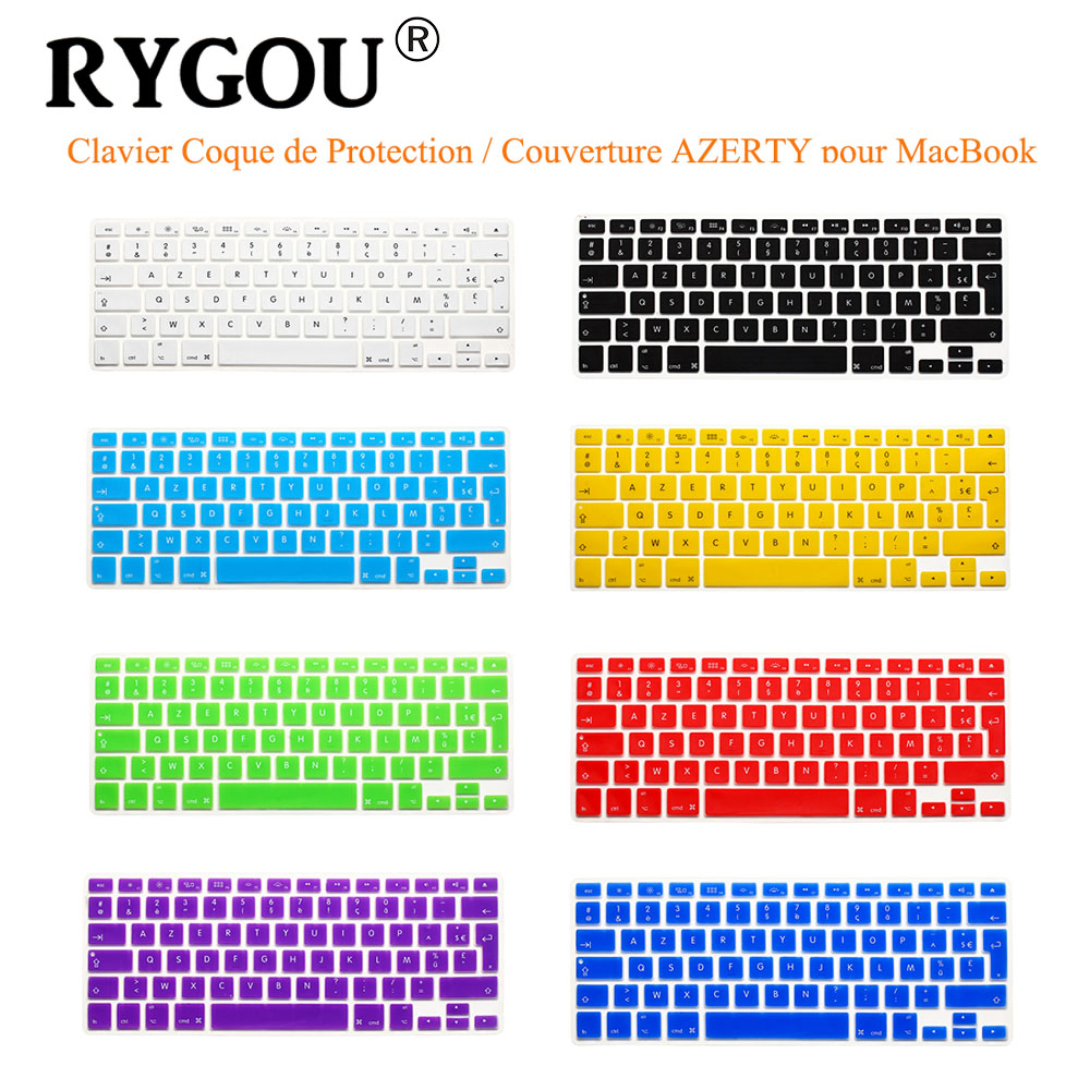 RYGOU French UK/EU Clavier AZERTY Silicone Keyboard Cover Skin for Macbook Pro 13