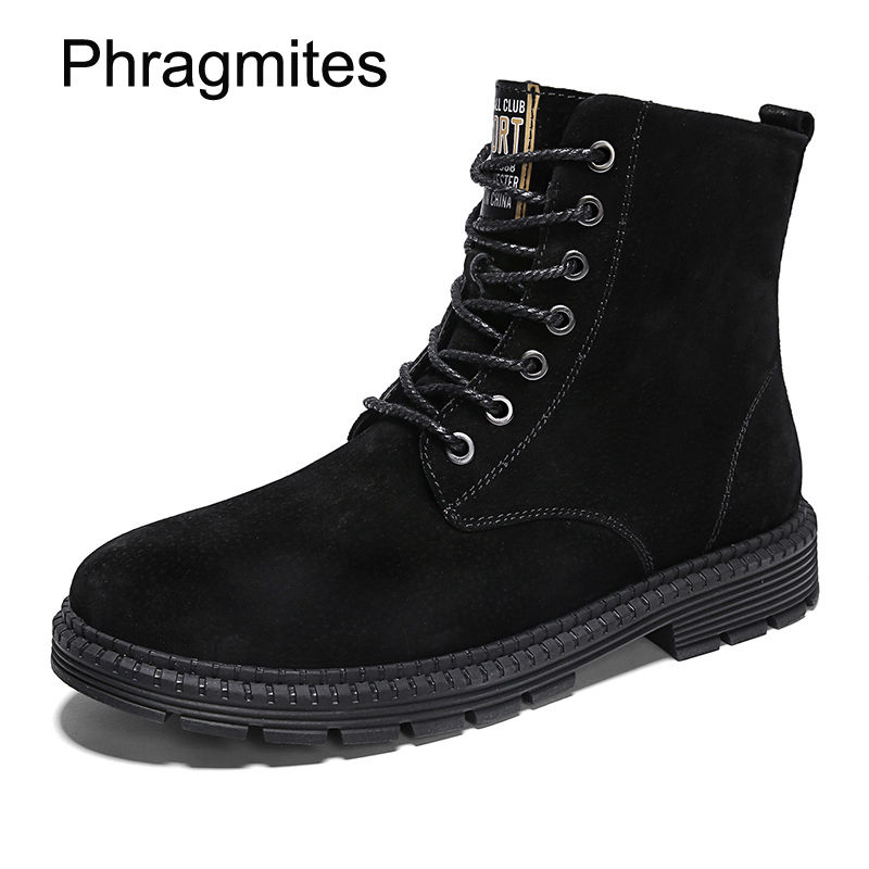 Phragmites plus size mid calf martin boots England new autumn boots fashion dress botas mujer invierno pig split leather shoes
