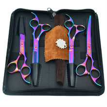 7.0″ Rainbow Pet Grooming Scissors Set Cutting & 2 Curved & Thinning Scissors 4pcs/set for Dog Grooming, LZS0368