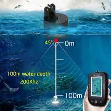 Erchang Portable Fish Finder Sonar Sounder Alarm Transducer 100M For Deeper Sea Ice Fishing Sonar Fish finder with En/RU Display