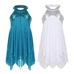 Image 2 - 4 14Y ילדי בנות הלטר פאייטים כריס לחצות בחזרה בגד גוף טוטו בלט שמלת לירי מודרני עכשווי סלוניים ריקוד