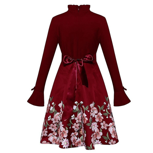 Women Elegant Sexy Vintage winter red midi dress 2019 Black Tunic Pinup Work Office Casual Party A Line Skater long sleeve Dress