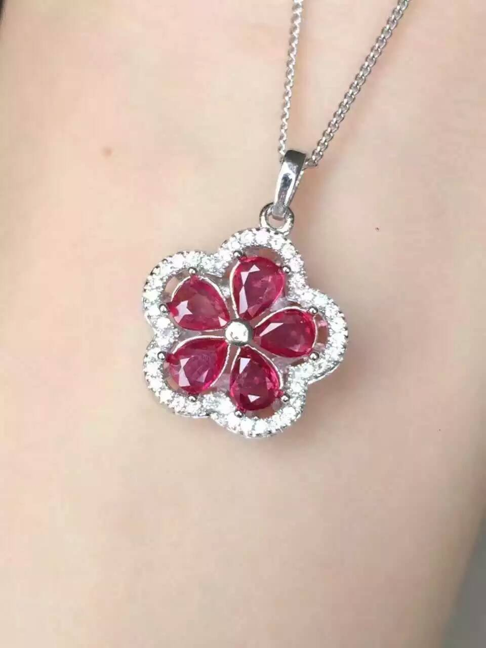 все цены на natural red ruby pendant S925 silver Natural yellow crystal Pendant Necklace trendy Elegant luxurious Flowers women jewelry