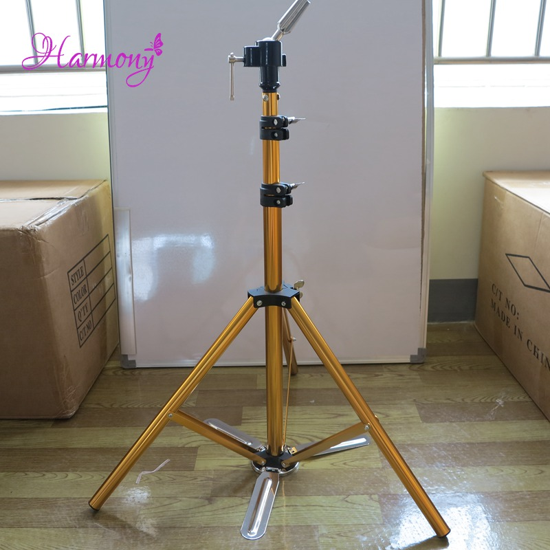 1pcs Golden Color Hair Salon Adjustable Aluminum Tripod Stand Mannequin Training Head Holder Wig Stand Clamp steel mannequin tripod stand hair salon adjustable tripod wig stand hairdressing training head clamp holder