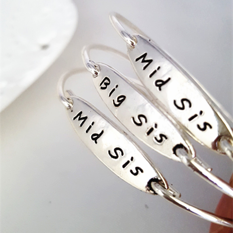 3PC/Set Big Mid Lil Sis Middle Little Sister Bracelets Bangles For Women Family Best Friends BFF Charm Jewelry Friendship Gifts