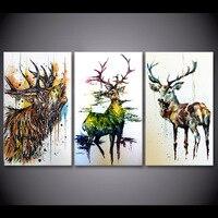 3 peça Veados Alce Graffiti Pinturas Da Lona para Sala de estar Pintura da Lona Arte Da Parede Moderno Decoracion Hogar