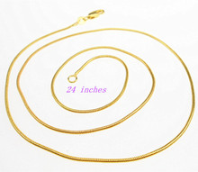 Free shipping 24inhces 1PCS Making Jewelry GOLD Link Snake Necklace Chains With Lobster Clasps For Pendant