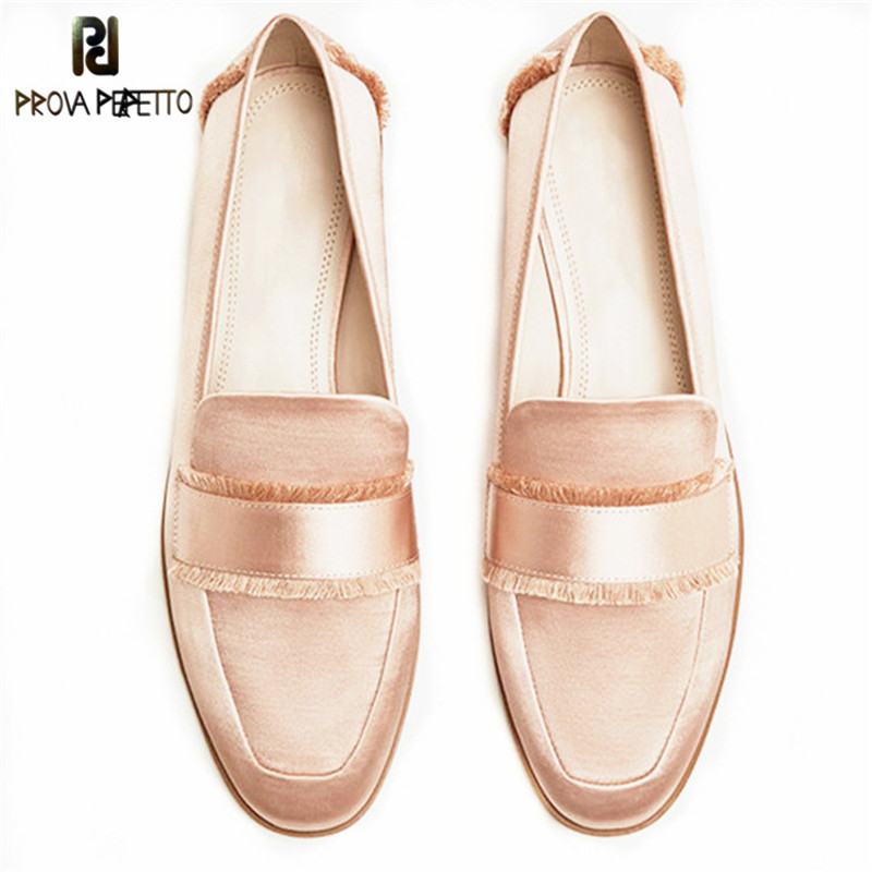 Prova Perfetto Spring Summer High Quality Silk Flat Shoes Tassels Square Toe Shoes Woman Low Heels Shoes Slip-on Women Loafers fashion tassels ornament leopard pattern flat shoes loafers shoes black leopard pair size 38