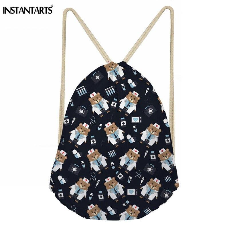 INSTANTARTS High Quality Drawstring Bag Nurse Bear Printed String Sack Beach Women Men Travel Storage Package Teenagers Backpack