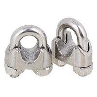 2 pz Argento In Acciaio Inox 304 Sella Morsetto Cavo Clip per la Fune metallica M14