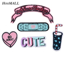 Hoomall Mixed 5PCs Iron-on Patches Applications Badge Applique For Clothes Embroidery Letter Car Drink Heart Sewing Accessories(China (Mainland))