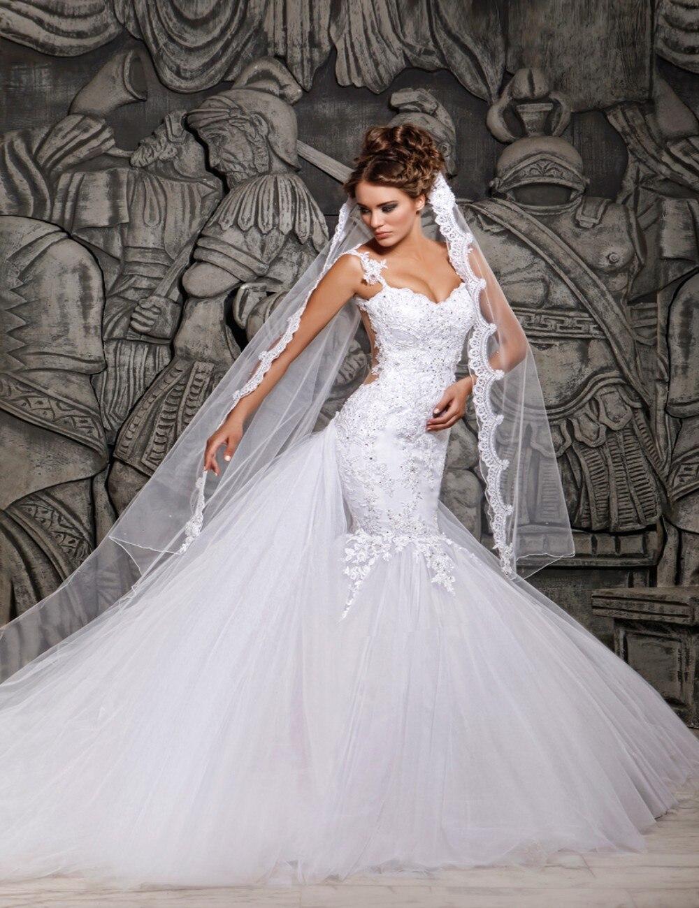 Vivian 39 s Bridal 2018 Spaghetti Straps Sweetheart Mermaid Wedding Dress Watteau Train Backless Lace Appliques Bridal Dress in Wedding Dresses from Weddings amp Events
