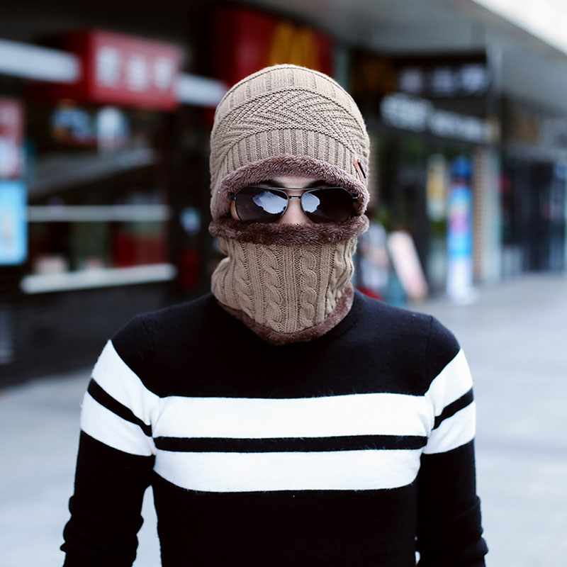 Men Beanie Hat Baggy Warm Winter Wool Fleece Cap + Neckerchief
