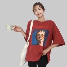 2018 Summer Short Sleeve Tshirt Smoking girl oversized Tees Cotton Casual Tee Fe