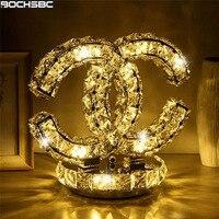 BOCHSBC романтический дизайн сердца Кристалл Настольная лампа для спальня гостиная обеденная рун деревянный стенд Moon CC светодиодное освещени
