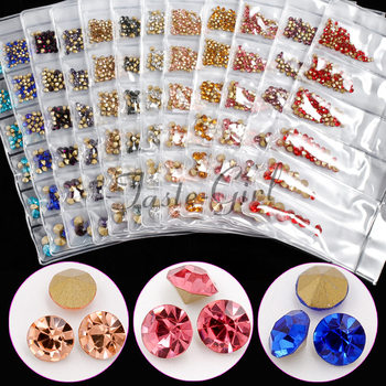 1 Pack Mix 5 sizes V-Bottom Sharp Glitter Rhinestone Nail Gems Acrylic Crystal Stone Non Hot Fix Nail Art Decoration Charms Set